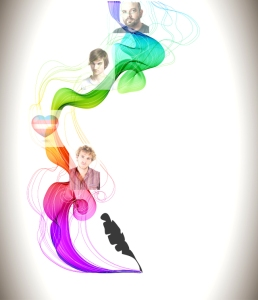 Abstract color background with wave and feather pen, illustration